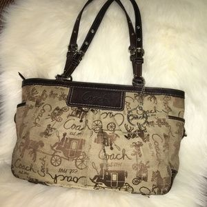 COACH Brown Signature HORSE & CARRIAGE Tote